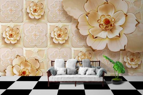3D Flower Goldern Work
