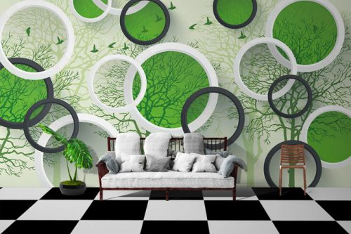 Green Circular Shape Birds Forest