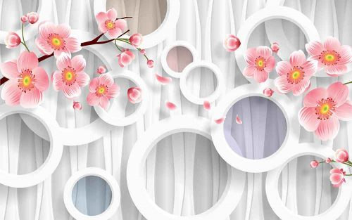 Floral Print Circles Tree Branches