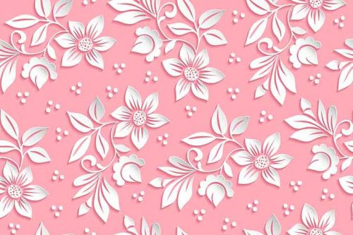 Pink Flowers Dots