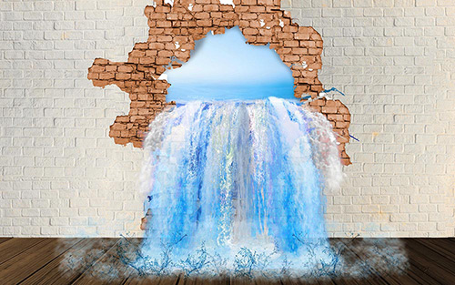 3D Waterfall from the Wall
