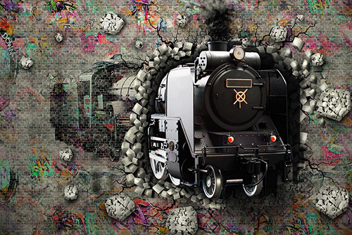3D Train in the wall