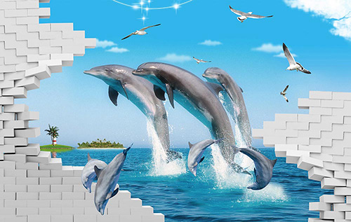 Dolphins Jumping on the sea