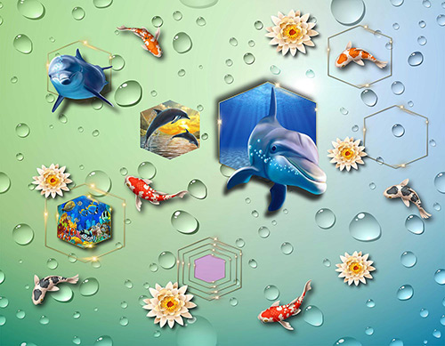 3D Fish & bubbles wallpaper