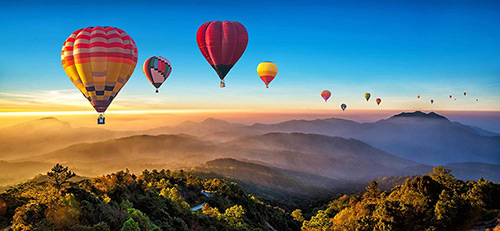 Hot Air baloon in Sunset
