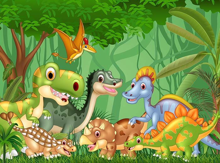 Happy Dinosaurs in the jungle