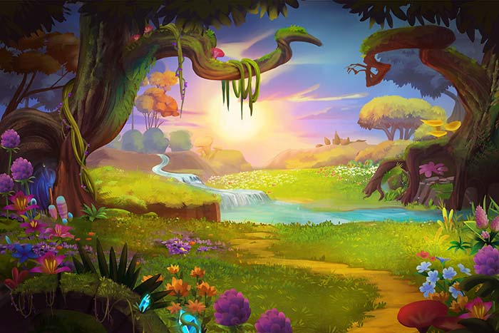 Fantasy grass land,hills and river