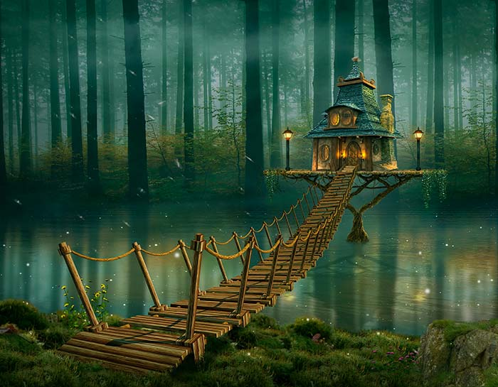 Tree house in a magical forest