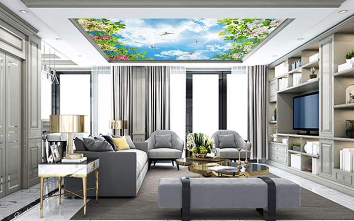 Ceiling Design with birds and plants