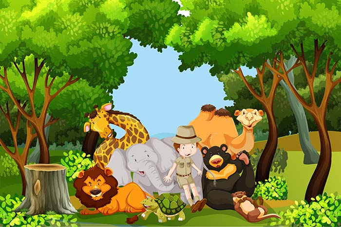 Zoo keeper with wild animals