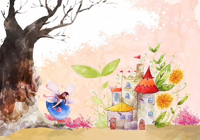 Fairy kingdom and girl with wings