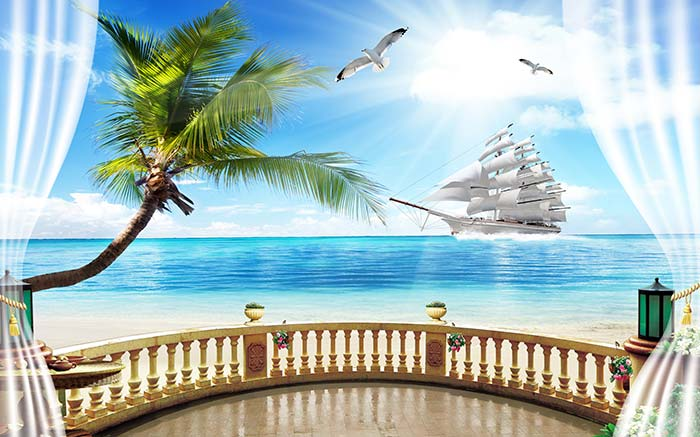 Coconut Tree and Boat