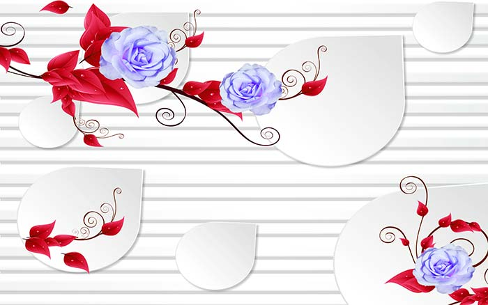 Purple Roses and Red leaves