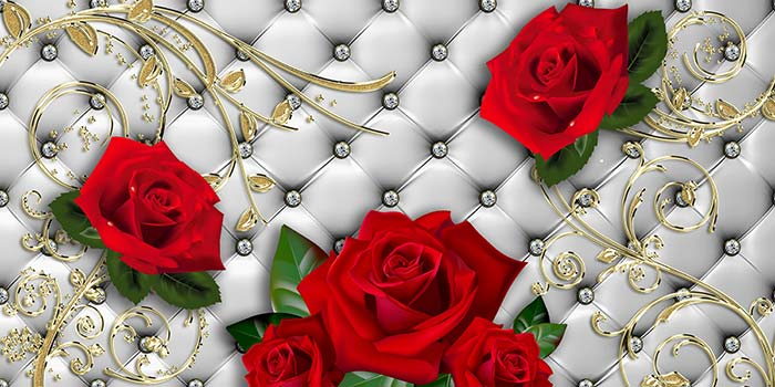 Red Roses and Gold Stems