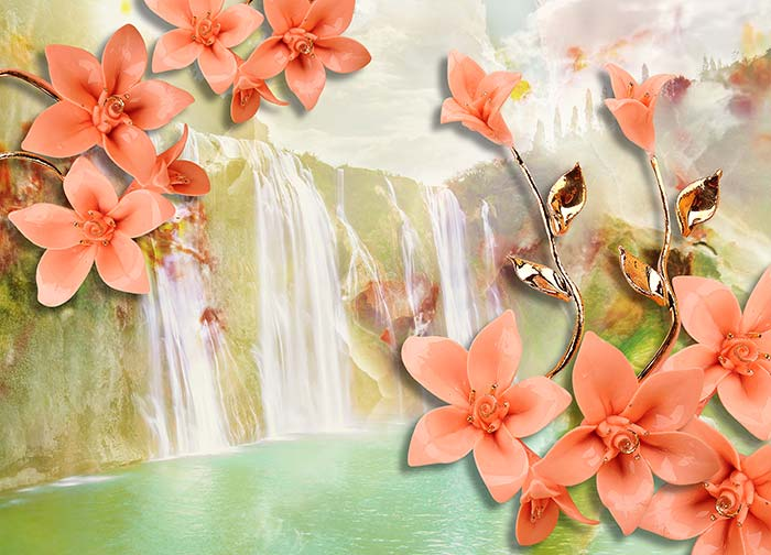 Waterfalls and Flowers