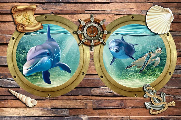 Underwater window view and dolphines