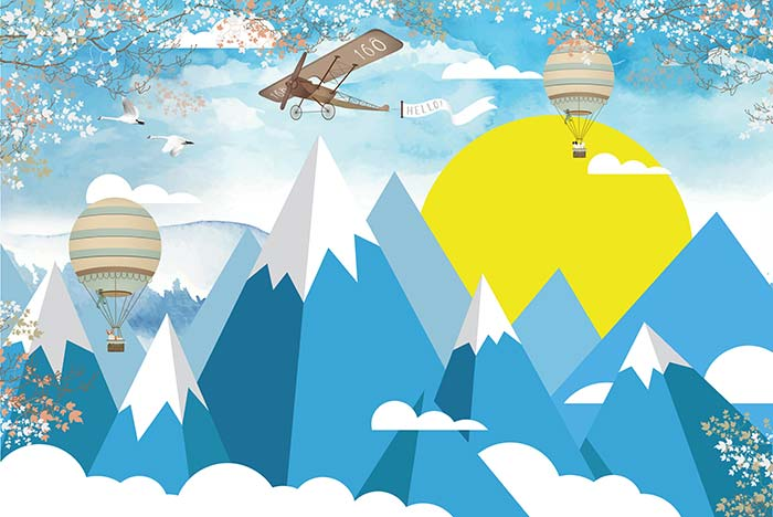 Mountain with hot air balloon and aircraft
