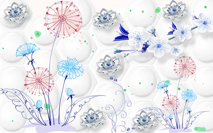 Abstract White and Blue Flowers