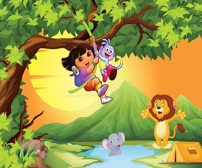 Girl hanging on tree and animals