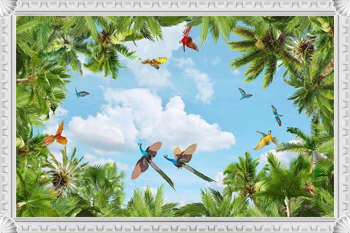 Peacock and parrots flying in sky