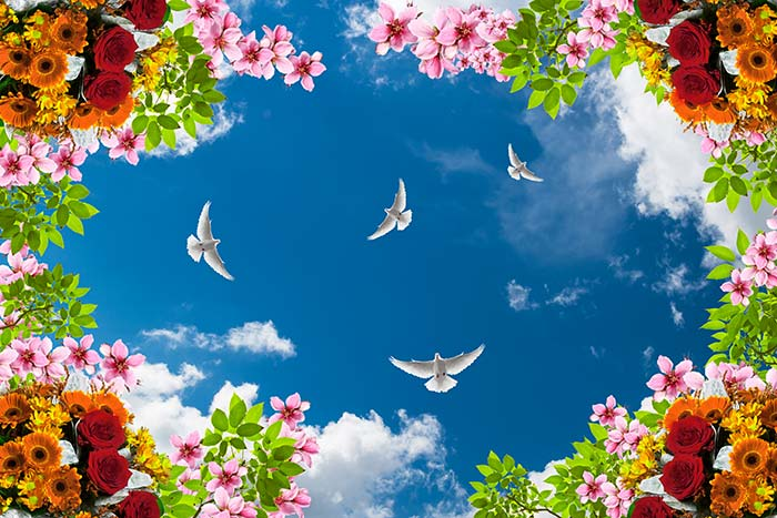 Colourful flowers with birds