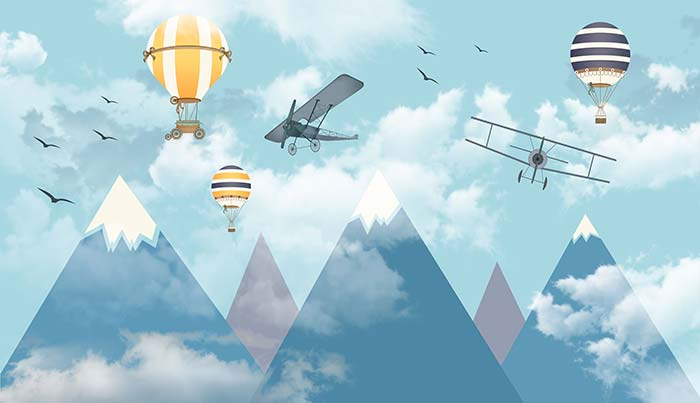 Snowy mountain, aircrafts and balloons