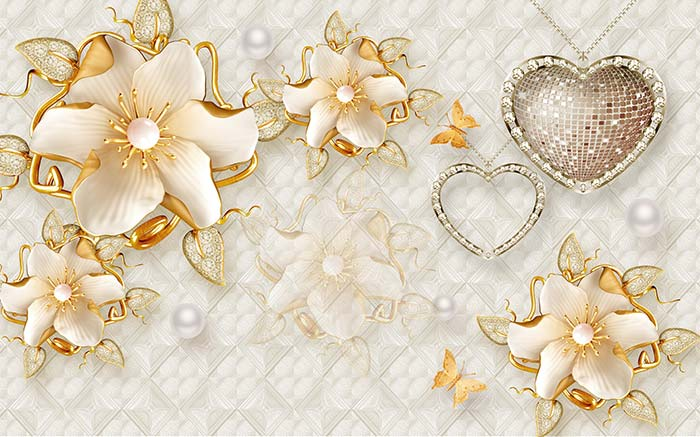 Studded heart and blossoms