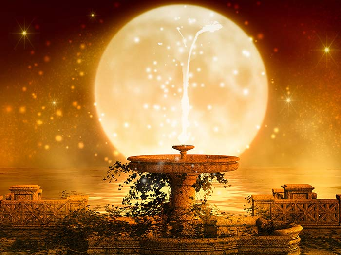 Sparkling moon with fountain