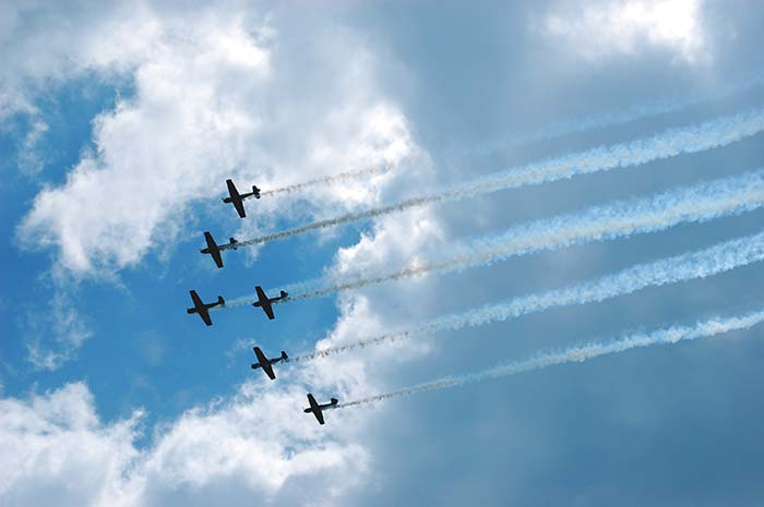 Sky with fighter jets