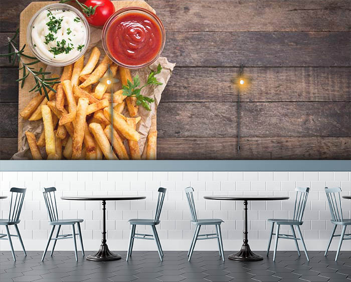 French fries and wooden table