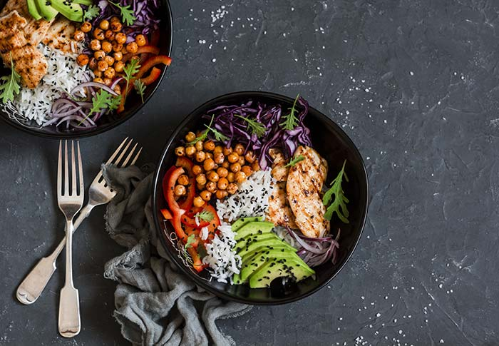 Grilled chicken rice and salad