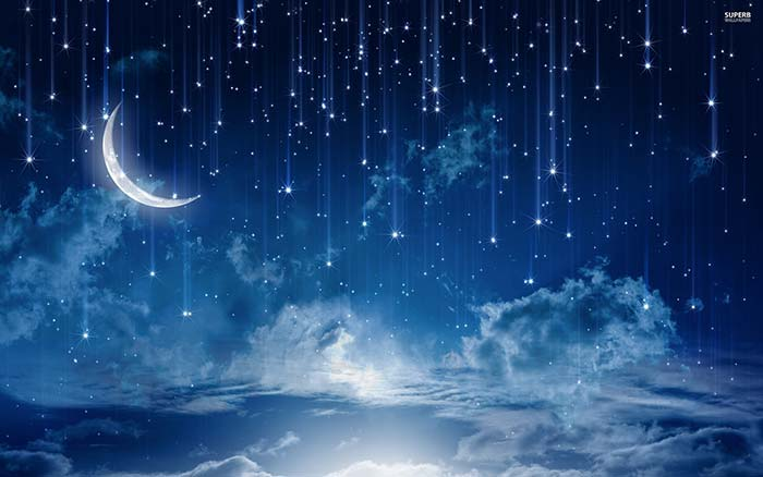 falling Star in Night Sky with Moon