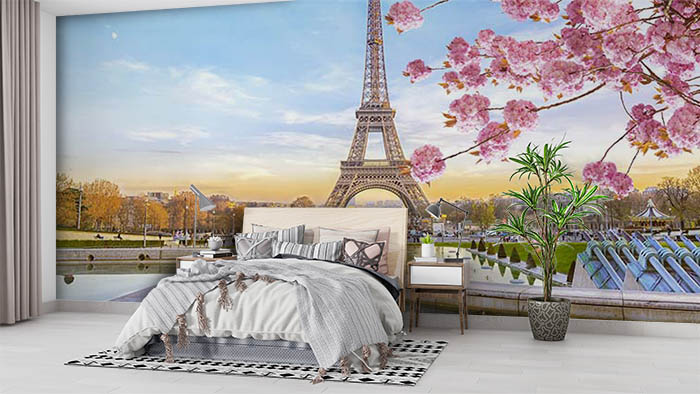 Pink Blossoms and Eiffel Tower