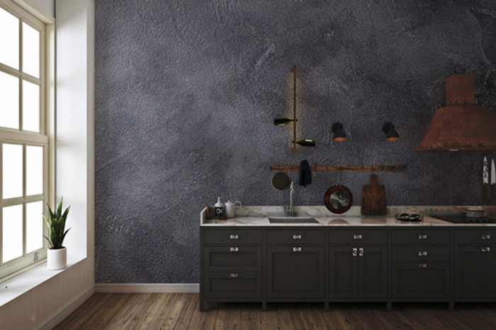 Dark, Somber Colors highlight the kitchen appliances and the vibe of the Kitchen